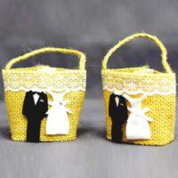 תיק מבד יוטה חתן כלה קישוטים לחתונה