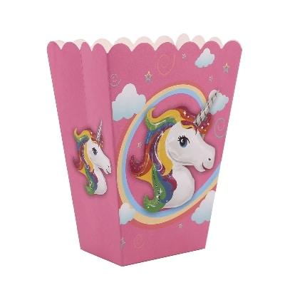 קופסאת פופקורן עבור יום הולדת חד קרן
