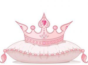 יום הולדת נסיכות כתר ורוד על כרית