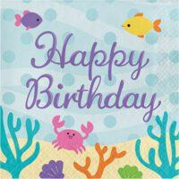יום הולדת בת הים- מפיות מודפסות