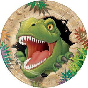 יום הולדת דינוזאורים תמונה של צלחת מאויירת