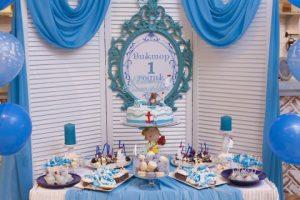 רעיונות לעיצוב שולחן יום הולדת בצבע כחול