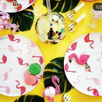 עיצוב שולחן ליום הולדת פלמינגו